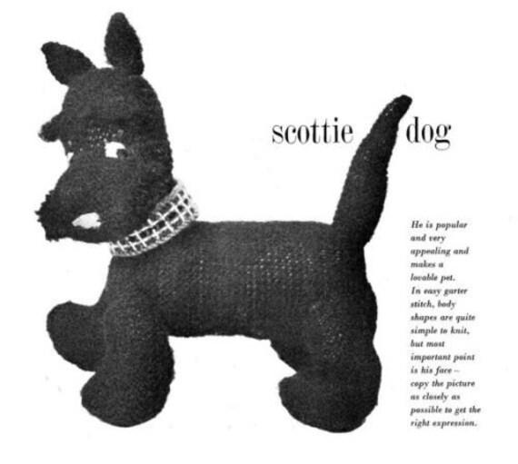 scottie dog toy dk knitting pattern 99p