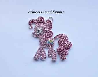 Pink Pony Rhinestone Pendant for Chunky Necklaces, Horse Pendant 50mm x  45mm,  Chunky Pendant