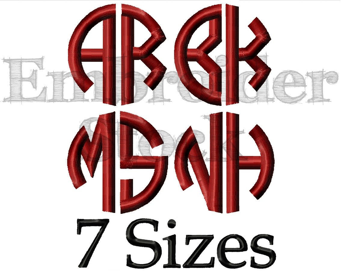 circle two letters font full alphabet font monogram font embroidery font round fonts for