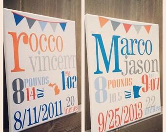 Custom subway art, birth announcement, nursery decor, baby stats, canvas wall hanging with vinyl.
