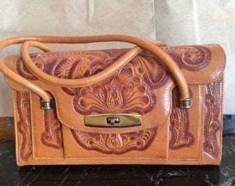 Hand crafted and tooled leather Western handbag fully lined