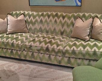 LEE JOFA KRAVET Cut Velvet Chevron Flame Stitch Zig Zag Fabric 10 yards Jade Green