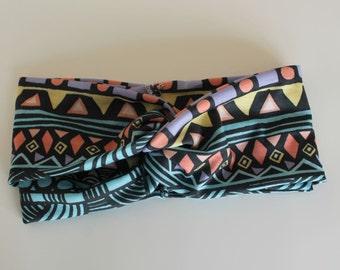 Turban Headband, Boho Headband, Womens Tribal Headband, Aztec Pattern, Yoga clothes, Handmade Spring Accessory, Twisted Headband, Hairband