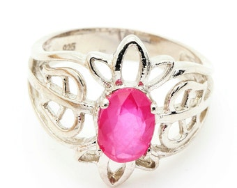 Ruby Ring. 925 Silver. Size 7. TMPL_SKU001188