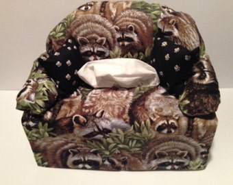 sofa tissue box cover-- racoons