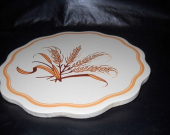 Wheat Pattern Ceramic Trivet , Wall Hanging, Scalloped, Kitchen Decor