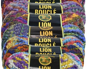 Yarn - Lion Brand Boucle - Gelato, Snow Cone, Licorice, or Hard Candies