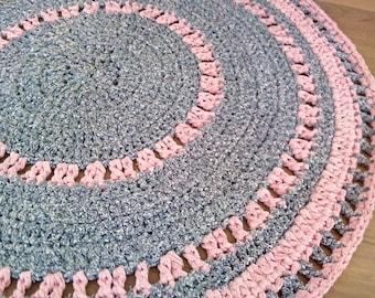 Pink rug for girl's room, crochet rag rug, round rug, pink and blue rug
