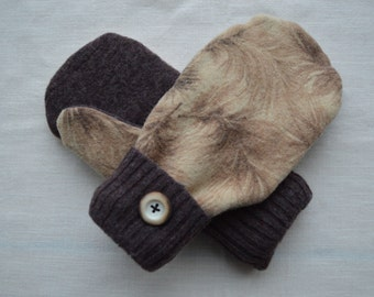 Brown and Tan Upcycled Wool Mittens