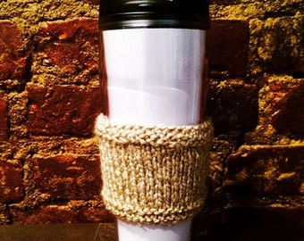 Knitted coffee sleeve, coffee cup cozy, tan/beige