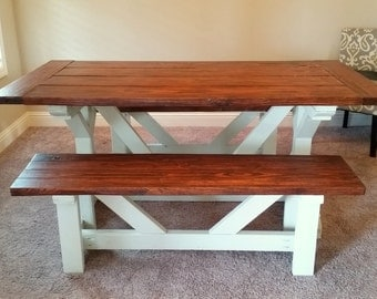 Matching Farmhouse Bench - Custom Dining Table Bench - Rustic Dining Table Seating - Farm Table Bench - Fancy X Bench