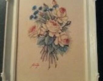 Retro kitschy framed botanical print
