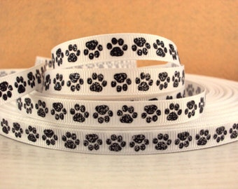 3/8 inch Tiny Black Paws with glitter on White Sports Printed Grosgrain Ribbon for Hair Bow