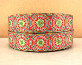 1 inch Fancy Circles  -  Printed Grosgrain Ribbon for Hair Bow