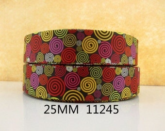 1 inch Kaleidoscope PATTERN 11245 - Printed Grosgrain Ribbon for Hair Bow