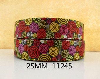 1 inch Kaleidoscope PATTERN 11245 - Printed Grosgrain Ribbon for Hair Bow