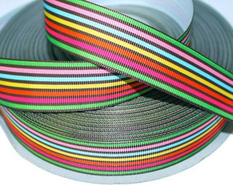 1 inch Brown and Others - Horizontal Stripes - Printed Grosgrain Ribbon for Hair Bow