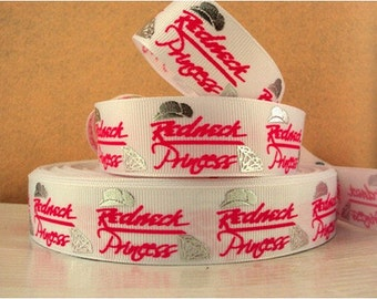 1 inch Redneck Princess on White - Hot pink letters - Silver Accents - Printed Grosgrain Ribbon for Hair Bow