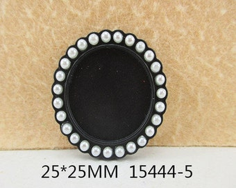 1 Piece - Pearl Resin Cameo - Black - Center is 1 inch circle 15444-5 Cap Cameo Flat Back - Center is 1 inch
