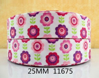 1 inch Pink Flowrs Vines on White 11675 Printed Grosgrain Ribbon for Hair Bow