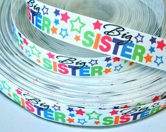 7/8 inch BIG Sister - Star Design - Printed Grosgrain Ribbon for Hair Bow