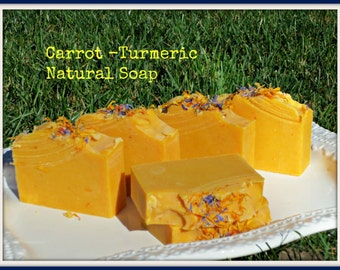 CARROT -TURMERIC Natural Soap , Cold process Soap