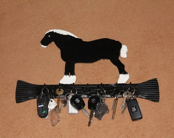 Key Holder, Wrought Iron with Cart Horse sillouette, Powder Coated