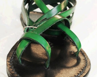 Custom Handmade Leather Sandals - strappy - greek - roman - flat - gladiator sandals. Many colors. :)
