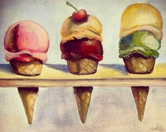 Thiebaud inspired icecream painting in acrylic on canvas