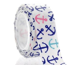 "7/8"" Pink Blue Nautical Anchors Grosgrain Ribbon - 5yds"