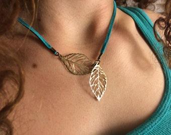 LOTR Inspired Jewelry Gold Leaf Design Necklace Elvish  Turquoise Blue Gold Leaf Design Deer Skin Lace Handmade