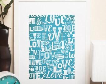 Custom Home Decor- Love Pattern Wall Art
