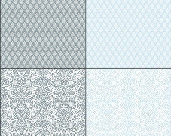 Damask Cardstock Paper Blue Digital paper pack, scrapbooking paper, Downloadable, patterned paper, Instant Download , patterned paper pack