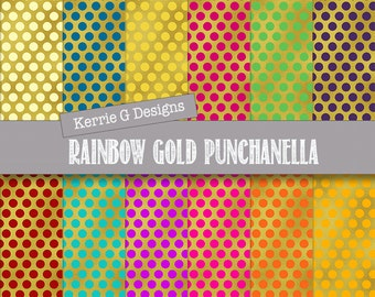 Rainbow mulitcolored gold paper pack polka dots punchanella scrapbooking paper, gold effect Downloadable digital patterned paper, paper pack