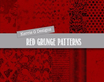 Red digital paper gothic paper pack  Downloadable grunge digital paper distressed chevron, printable, damask, blood red