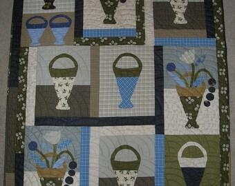 Primitive Baskets of Blue Wall Hanging