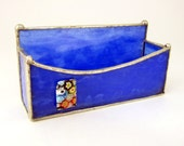 Blue Stipple Stained Glass Business Card Holder Flower Garden Bead Handmade