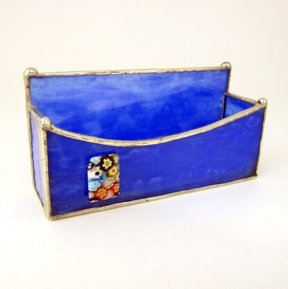 Flower Garden Blue Stipple Handmade Stained Glass Business Card Holder