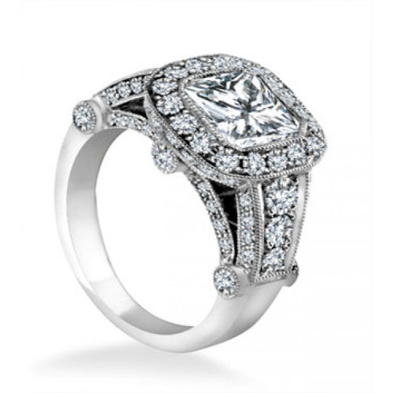 Items similar to 2 00 Carat Princess Cut Halo Diamond Engagement Ring 18K Whi