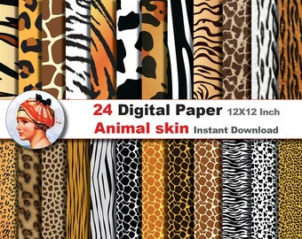 24x Animal skin- Digital paper patterns - Scrapbooking Paper, Instant Download (No. 19)