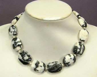 Necklace Zebra Jasper 25mm Flat Facets 925 Exact NSJZ5587