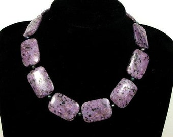 Necklace Purple Kiwi Huge 35mm Rectangles 925 NSKW2265