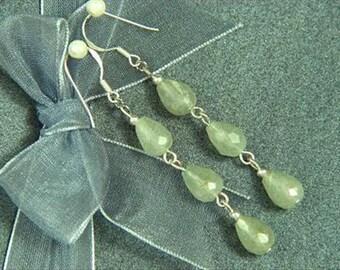 """Earrings 3X New Jade 2.4"""" 9mm Facet Drops 925 ESNJ1386"""