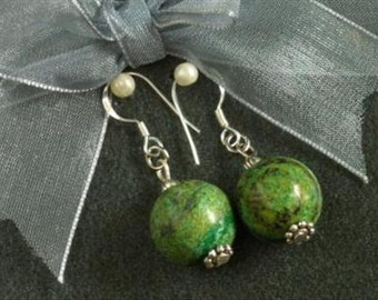 Earrings Forest Jasper 14mm Round Beads 925 ESJF1636