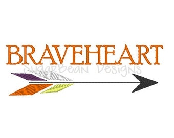 Braveheart Embroidery Design. Two Sizes Included. Arrow Machine Embroidery Design.