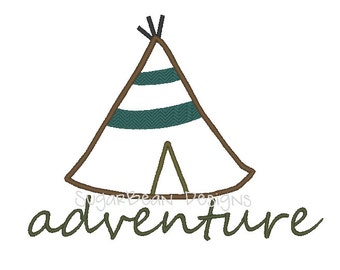 Adventure Teepee Embroidery Design. Two Sizes Included. Native Machine Embroidery Applique Design.