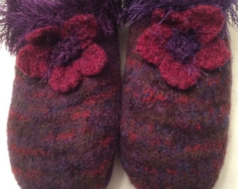 Hand Knit Felted Slippers Womens Medium