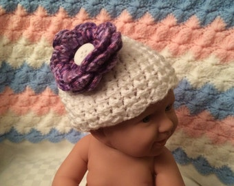 Hand Crochet Baby Hat New Born Girl Hat White with Flower