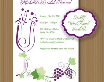 wine theme shower  etsy, Bridal shower invitations