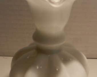 Fenton Milk Glass Silver Crest Crimp Vase